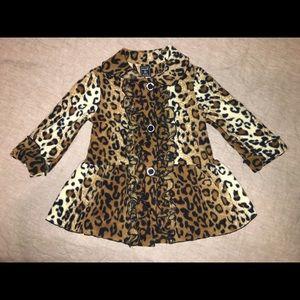 Fleece leopard coat. 24 months.